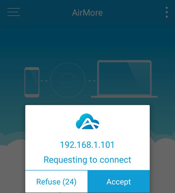 AirMore - potvrdenie pripojenia k mobilu