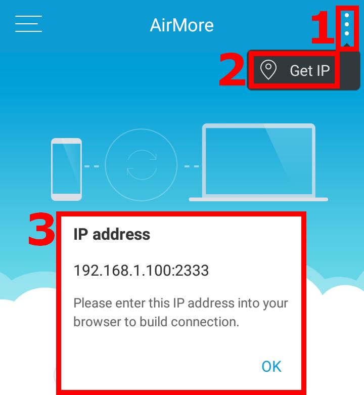 AirMore - ako zistiť IP adresu