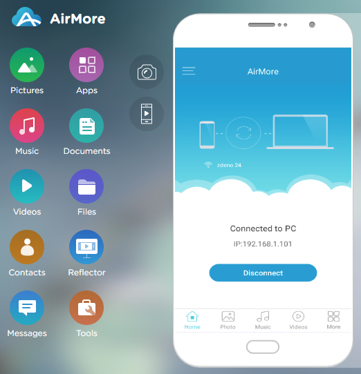AirMore - obsah mobilu vo webovom prehliadači