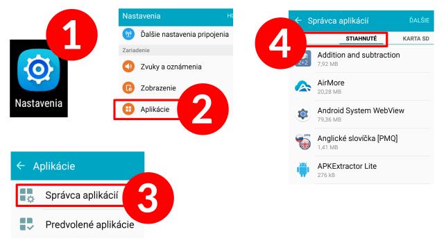 Android - odinštalovanie nepotrebných aplikácií