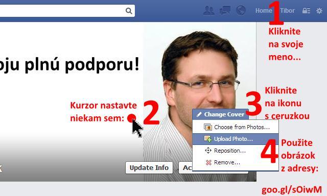 Facebook - zmena obrázku záhlavia